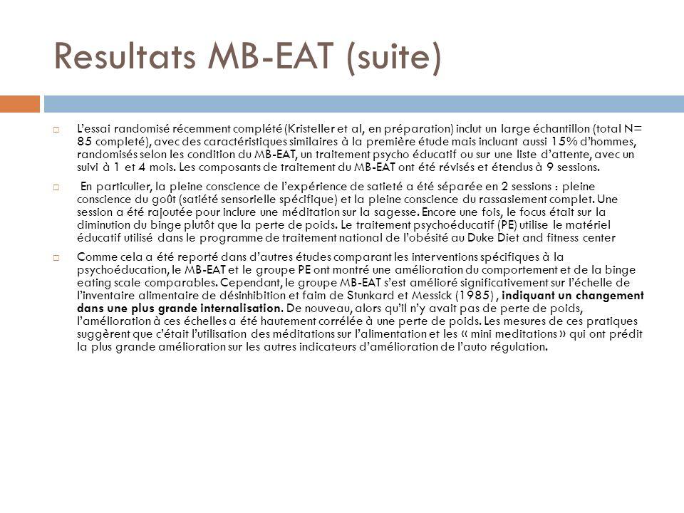 Resultats MB-EAT (suite) Lessai randomisé récemment complété (Kristeller et al, en préparation) inclut un large échantillon (total N= 85 completé), av