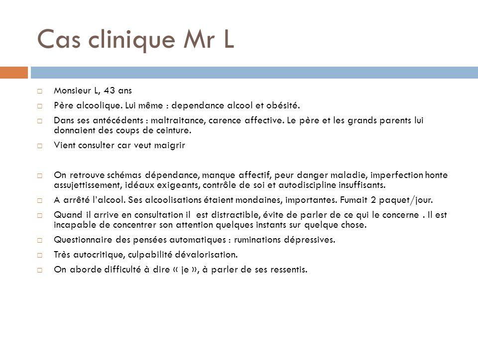 Cas clinique Mr L Monsieur L, 43 ans Père alcoolique. Lui même : dependance alcool et obésité. Dans ses antécédents : maltraitance, carence affective.