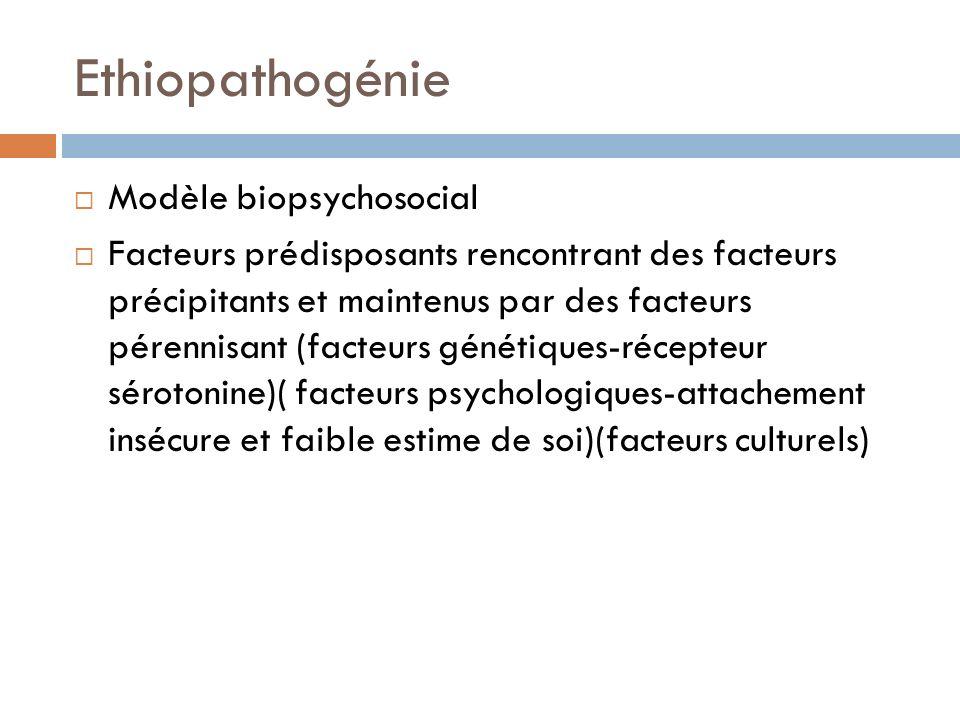 Ethiopathogénie Modèle biopsychosocial Facteurs prédisposants rencontrant des facteurs précipitants et maintenus par des facteurs pérennisant (facteur