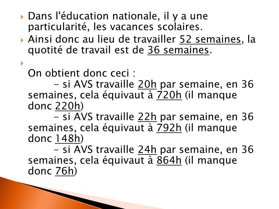 Dans l'éducation nationale, il y a une particularité, les vacances scolaires. Ainsi donc au lieu de travailler 52 semaines, la quotité de travail est