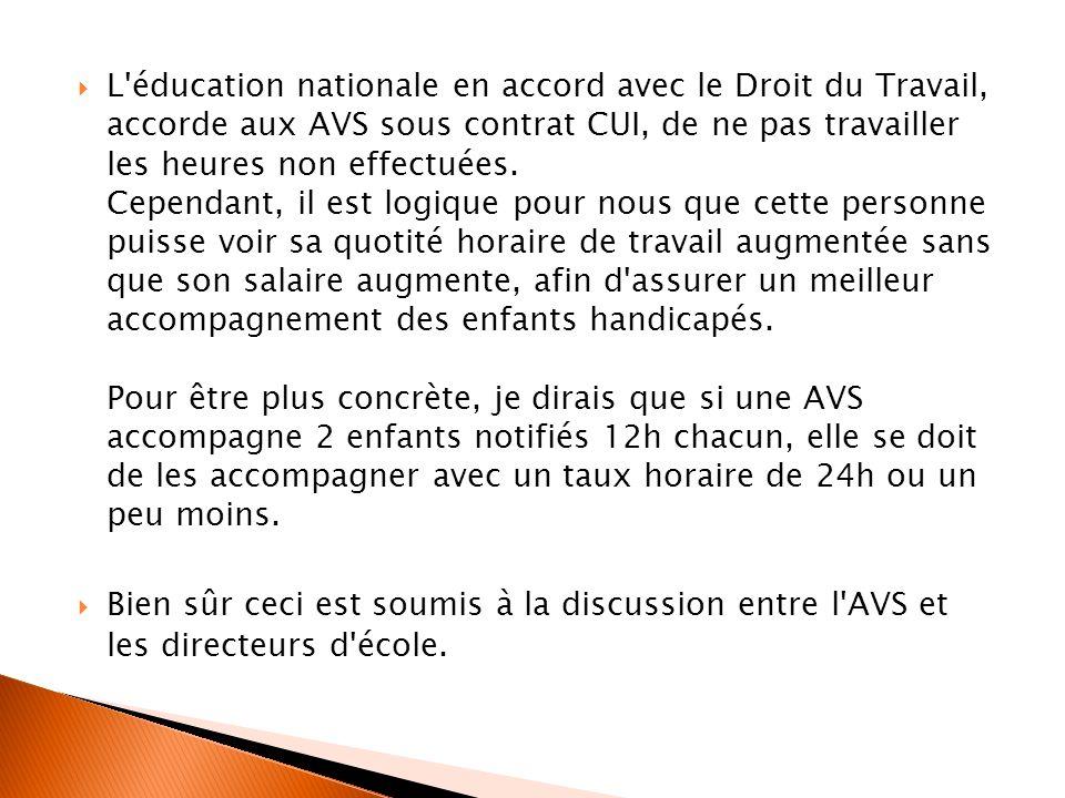L'éducation nationale en accord avec le Droit du Travail, accorde aux AVS sous contrat CUI, de ne pas travailler les heures non effectuées. Cependant,
