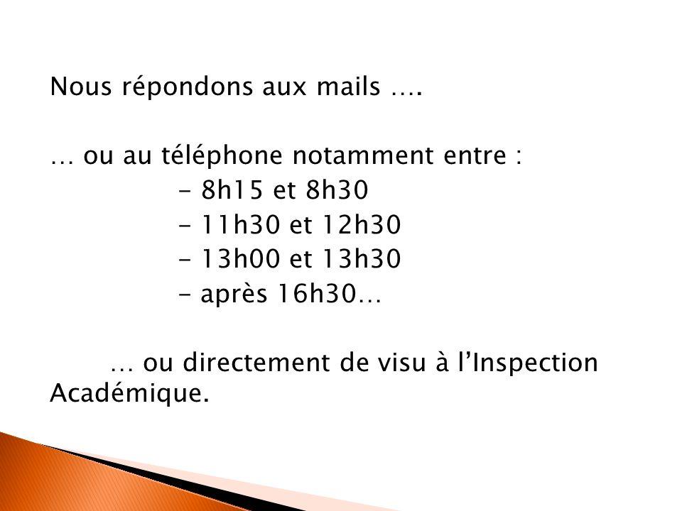 Nous répondons aux mails …. … ou au téléphone notamment entre : - 8h15 et 8h30 - 11h30 et 12h30 - 13h00 et 13h30 - après 16h30… … ou directement de vi