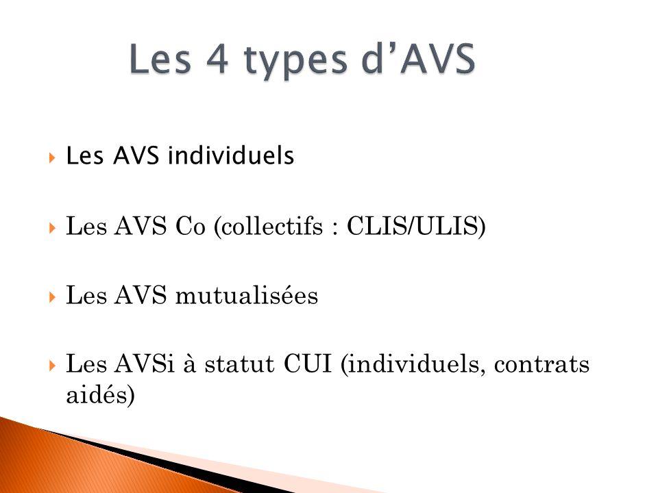 Les AVS individuels Les AVS Co (collectifs : CLIS/ULIS) Les AVS mutualisées Les AVSi à statut CUI (individuels, contrats aidés)