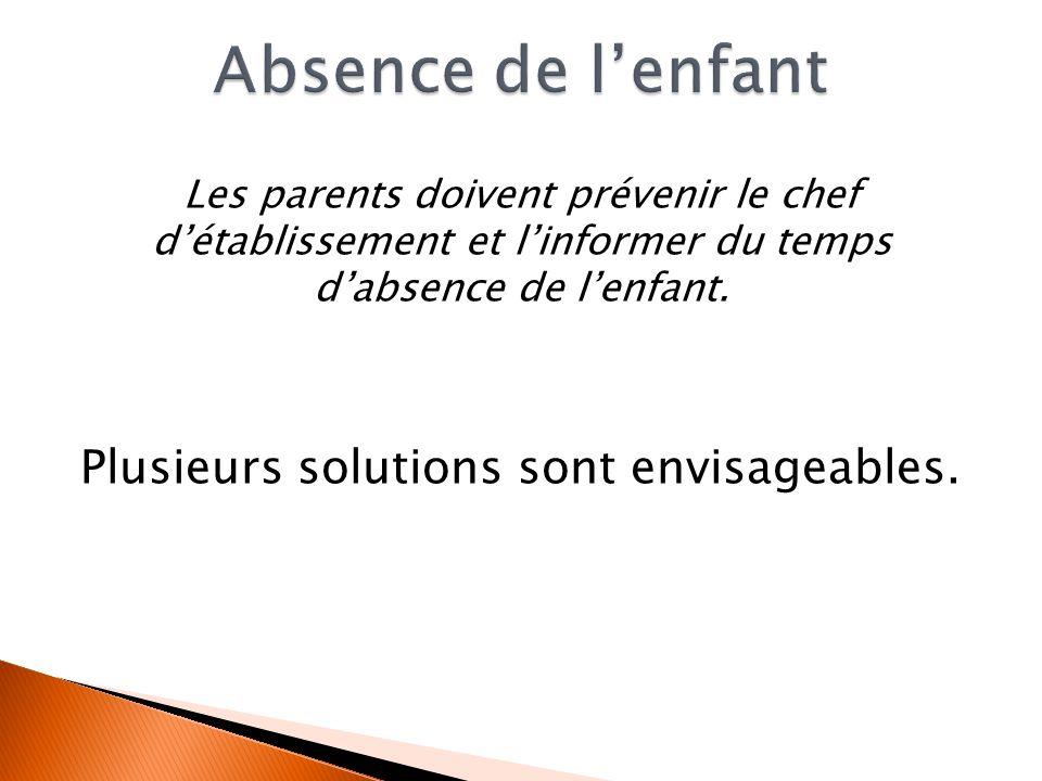 Les parents doivent prévenir le chef détablissement et linformer du temps dabsence de lenfant. Plusieurs solutions sont envisageables.