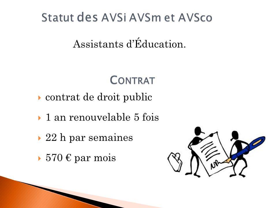 Assistants dÉducation. contrat de droit public 1 an renouvelable 5 fois 22 h par semaines 570 par mois C ONTRAT