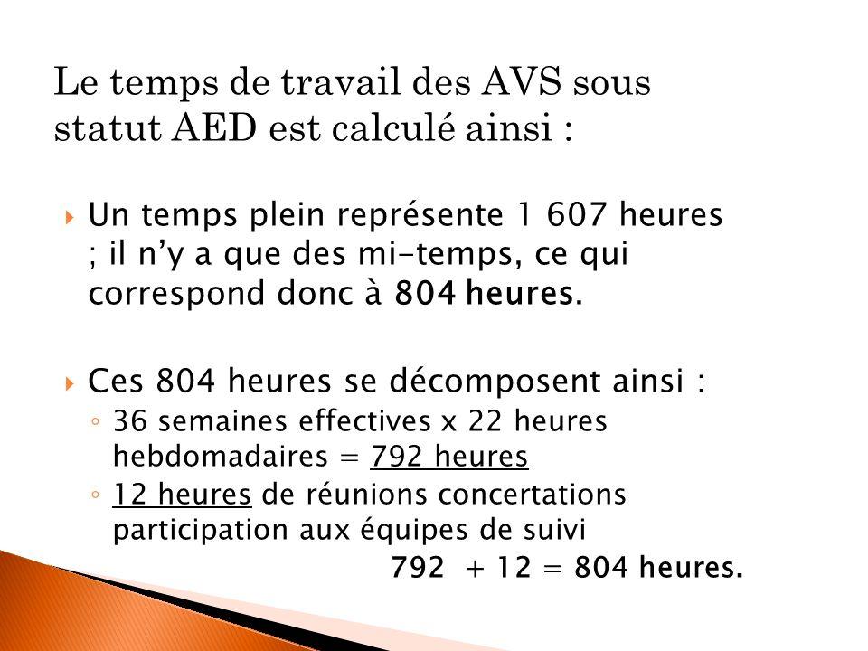 Le temps de travail des AVS sous statut AED est calculé ainsi : Un temps plein représente 1 607 heures ; il ny a que des mi-temps, ce qui correspond d