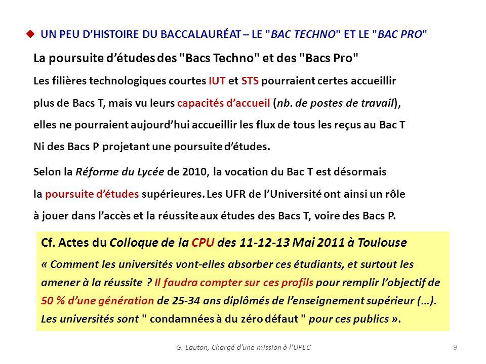 Cf. Actes du Colloque de la CPU des 11-12-13 Mai 2011 à Toulouse « Comment les universités vont-elles absorber ces étudiants, et surtout les amener à