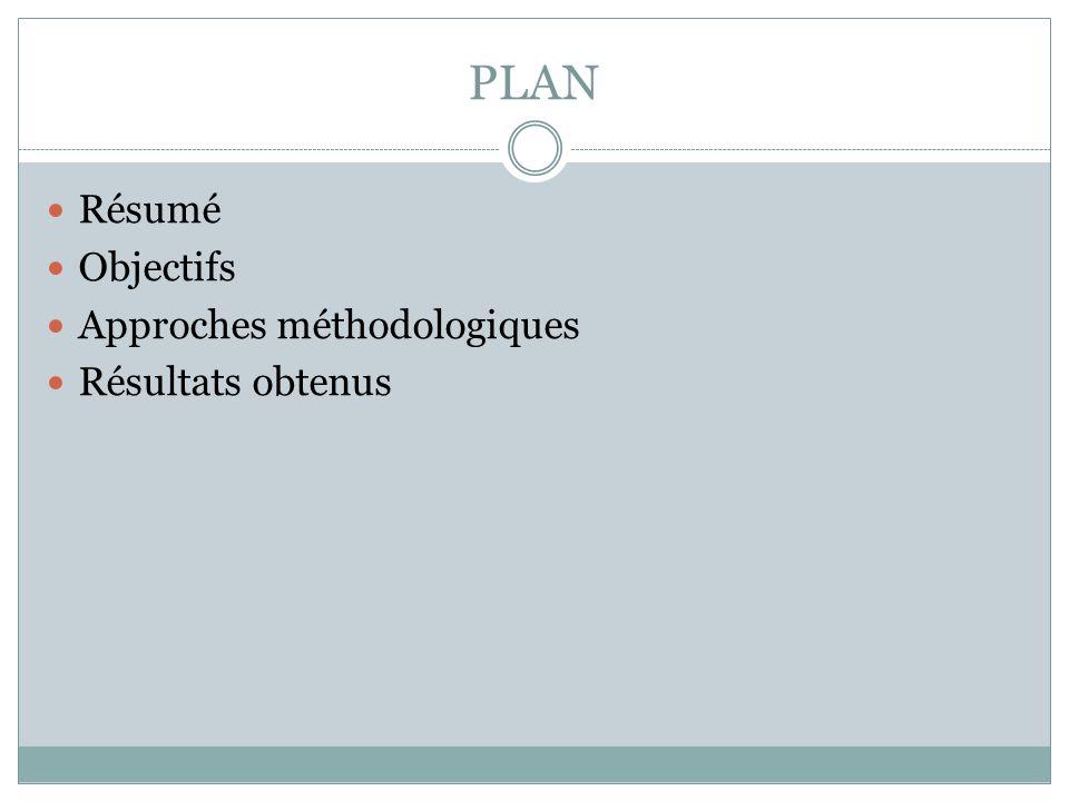 PLAN Résumé Objectifs Approches méthodologiques Résultats obtenus
