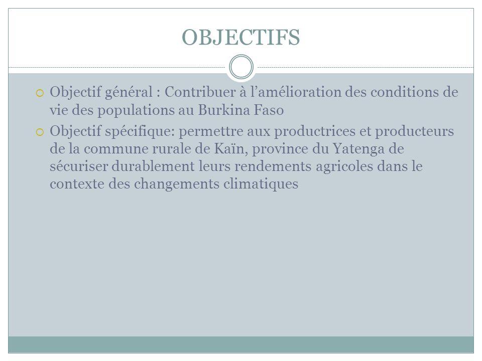 OBJECTIFS Objectif général : Contribuer à lamélioration des conditions de vie des populations au Burkina Faso Objectif spécifique: permettre aux produ