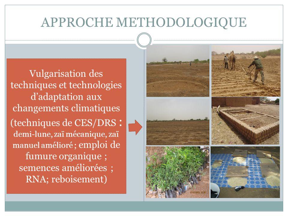 APPROCHE METHODOLOGIQUE Vulgarisation des techniques et technologies dadaptation aux changements climatiques (techniques de CES/DRS : demi-lune, zaï m