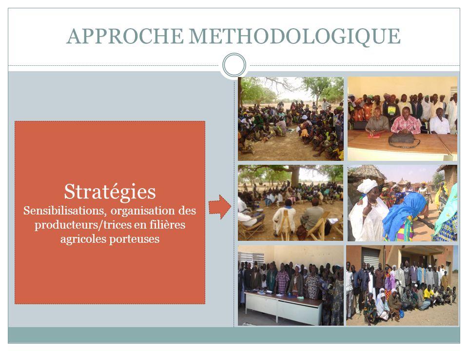 APPROCHE METHODOLOGIQUE Stratégies Sensibilisations, organisation des producteurs/trices en filières agricoles porteuses