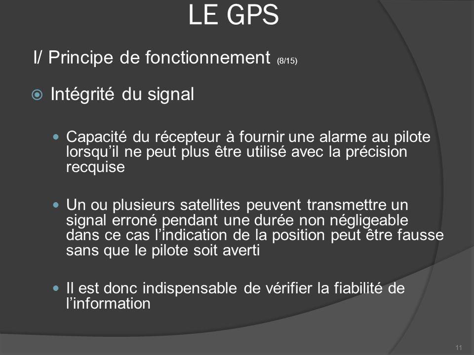 LE GPS Intégrité du signal Capacité du récepteur à fournir une alarme au pilote lorsquil ne peut plus être utilisé avec la précision recquise Un ou pl