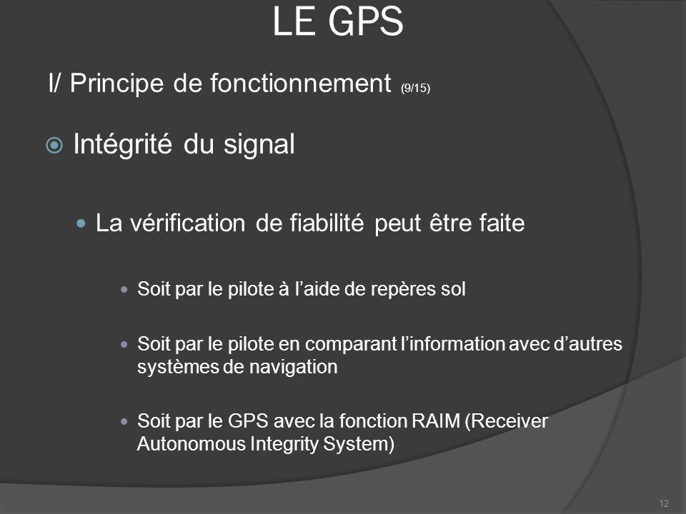 LE GPS Intégrité du signal La vérification de fiabilité peut être faite Soit par le pilote à laide de repères sol Soit par le pilote en comparant linf