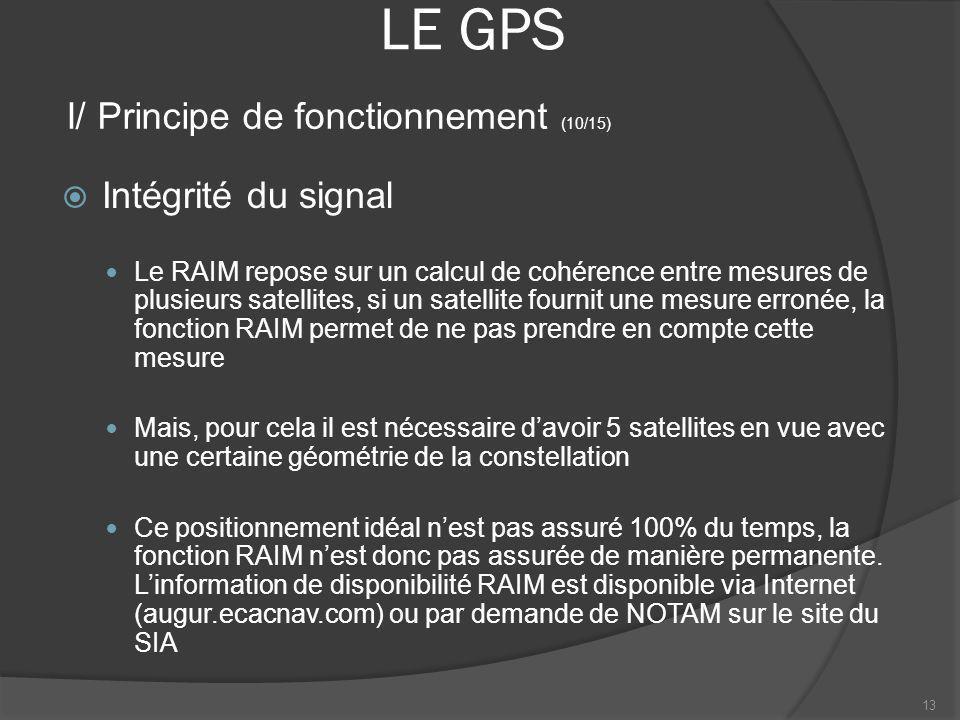LE GPS Intégrité du signal Le RAIM repose sur un calcul de cohérence entre mesures de plusieurs satellites, si un satellite fournit une mesure erronée