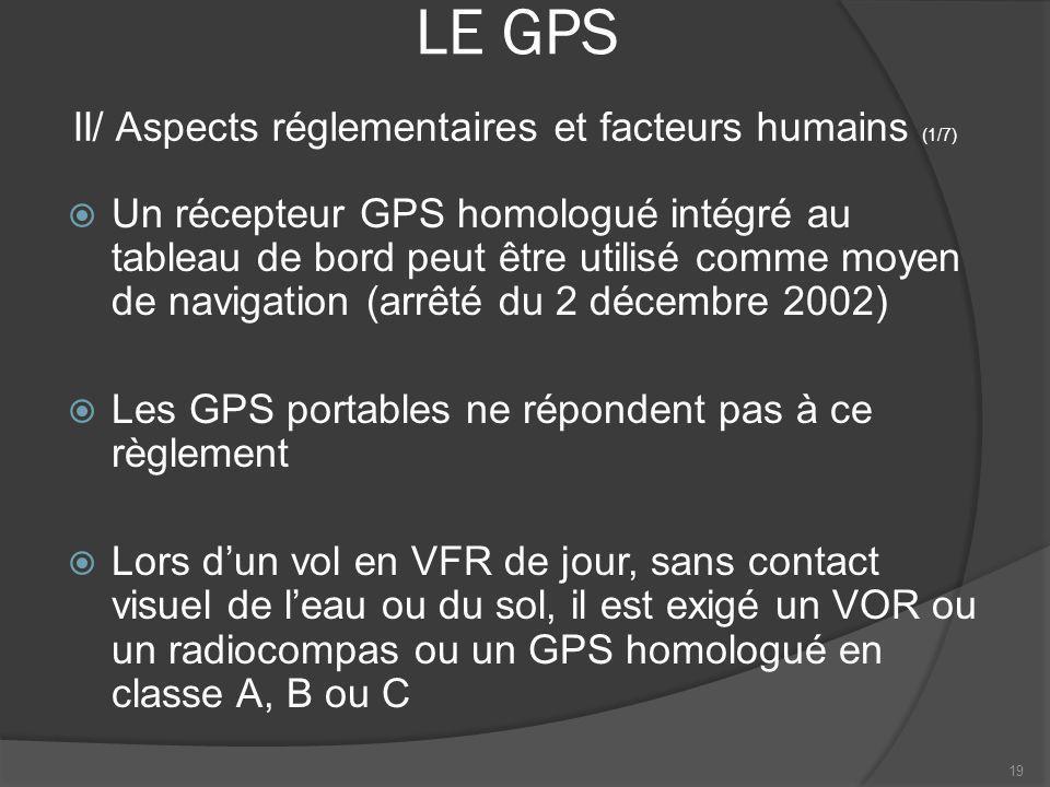 LE GPS Un récepteur GPS homologué intégré au tableau de bord peut être utilisé comme moyen de navigation (arrêté du 2 décembre 2002) Les GPS portables
