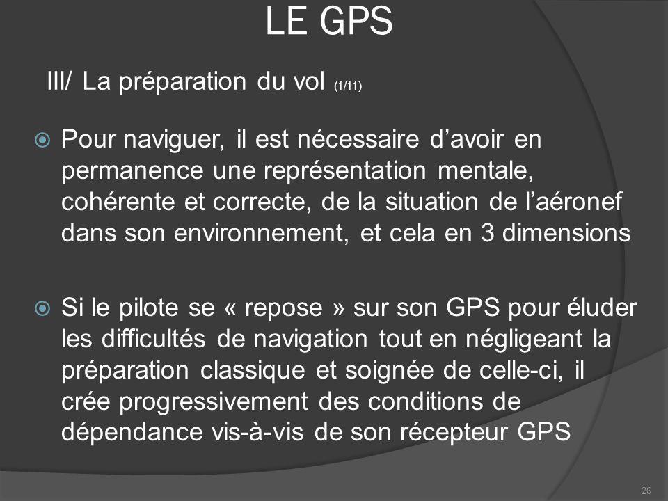 LE GPS Pour naviguer, il est nécessaire davoir en permanence une représentation mentale, cohérente et correcte, de la situation de laéronef dans son e