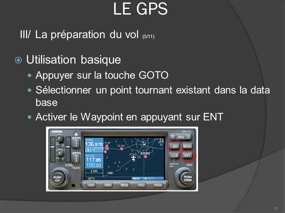 LE GPS Utilisation basique Appuyer sur la touche GOTO Sélectionner un point tournant existant dans la data base Activer le Waypoint en appuyant sur EN