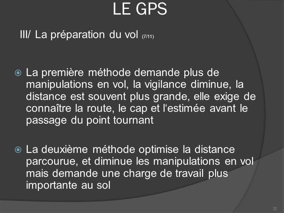 LE GPS La première méthode demande plus de manipulations en vol, la vigilance diminue, la distance est souvent plus grande, elle exige de connaître la