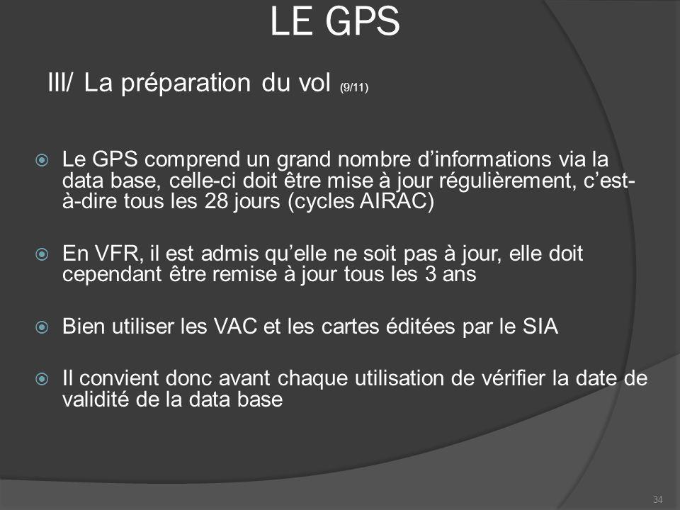 LE GPS Le GPS comprend un grand nombre dinformations via la data base, celle-ci doit être mise à jour régulièrement, cest- à-dire tous les 28 jours (c