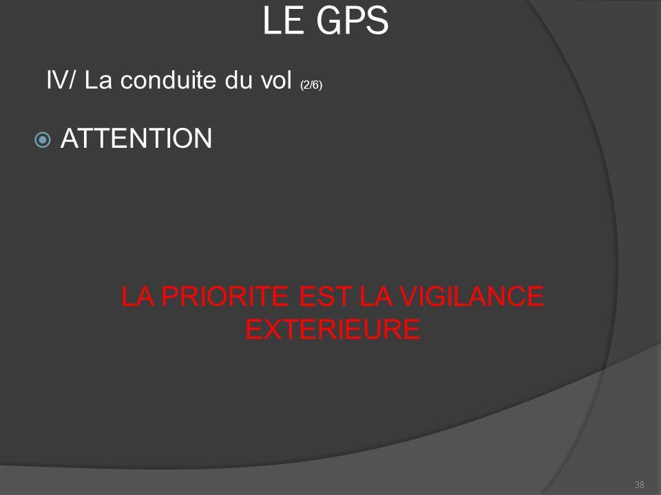 LE GPS ATTENTION LA PRIORITE EST LA VIGILANCE EXTERIEURE 38 IV/ La conduite du vol (2/6)