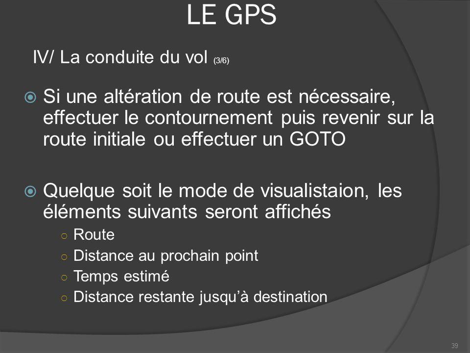 LE GPS Si une altération de route est nécessaire, effectuer le contournement puis revenir sur la route initiale ou effectuer un GOTO Quelque soit le m