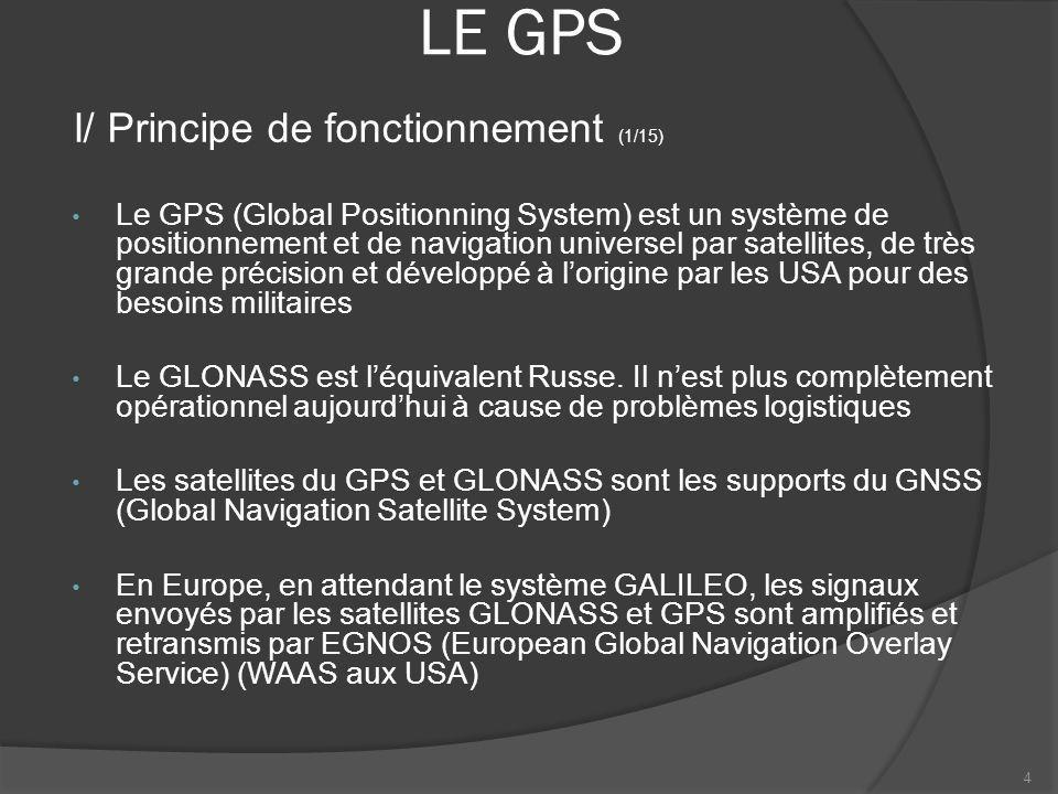 LE GPS Le GPS (Global Positionning System) est un système de positionnement et de navigation universel par satellites, de très grande précision et dév