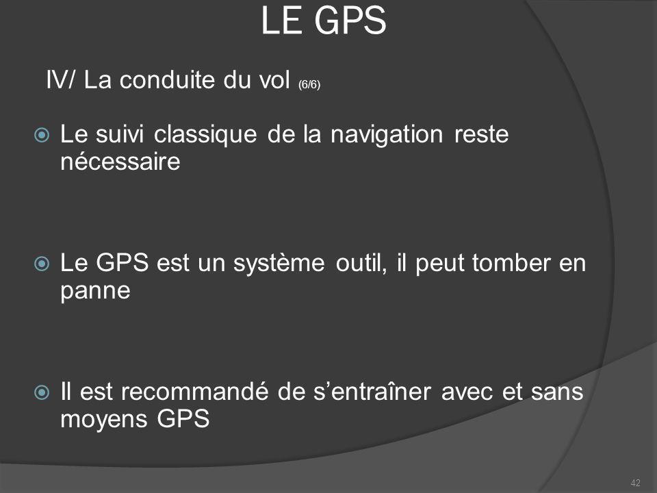 LE GPS Le suivi classique de la navigation reste nécessaire Le GPS est un système outil, il peut tomber en panne Il est recommandé de sentraîner avec
