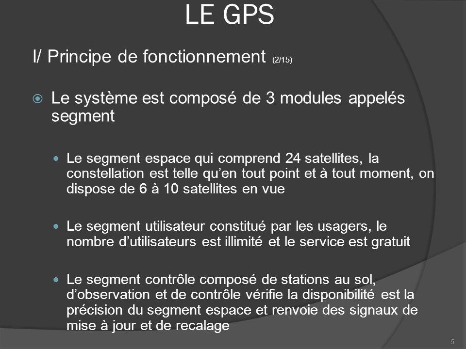 LE GPS Chacun des 24 satellites émet 2 types de messages codés Le code C/A accessibles à tous sans restrictions, service utilisé par les récepteurs civils Le code P, plus précis, accessible après autorisation par la défense des USA 6 I/ Principe de fonctionnement (3/15)