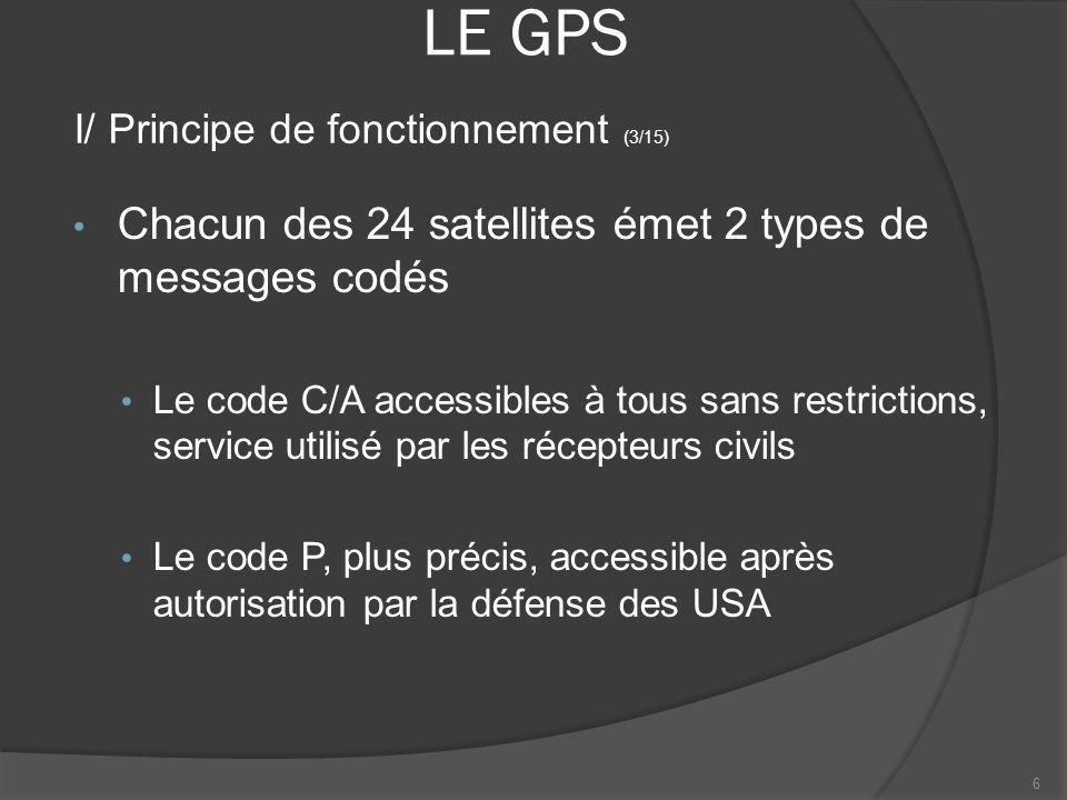 LE GPS Pour se positionner, la méthode de résolution est celle du triangle sphérique Léquation à résoudre est composée de 4 inconnues: la position (3 variables) et le décalage de lhorloge par rapport au temps GPS Ainsi, il est nécessaire pour résoudre léquation davoir les positions de 4 satellites 7 I/ Principe de fonctionnement (4/15)