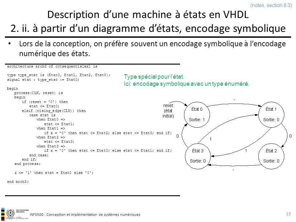 INF3500 : Conception et implémentation de systèmes numériques Parenthèse: types énumérés en VHDL Un type peut être défini avec une énumération déléments dans une liste.
