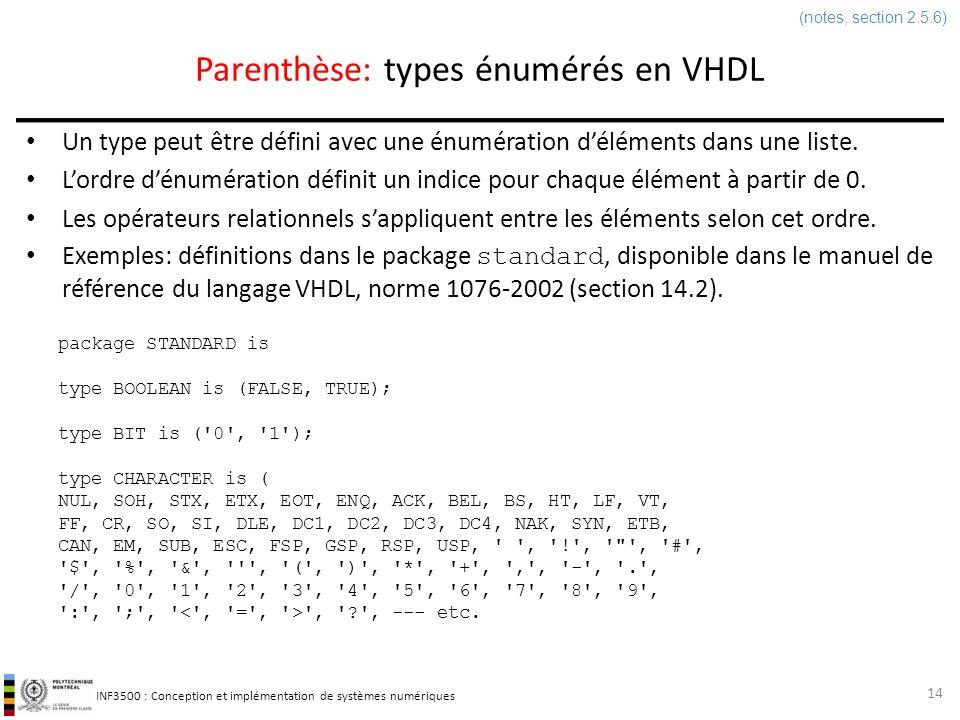 INF3500 : Conception et implémentation de systèmes numériques Modélisation de machine à états - conclusion 15 (pas dans les notes) architecture arch1 of cctsequentielex1 is signal A : STD_LOGIC; -- bascule A (en haut) signal B : STD_LOGIC; -- bascule B (en bas) begin process(CLK, reset) is begin if (reset = 0 ) then A <= 0 ; B <= 0 ; elsif (rising_edge(CLK)) then A <= A xor B; B <= x or not(B); end if; end process; -- signal de sortie z <= not(A or B); end arch1; architecture arch3 of cctsequentielex1 is type type_etat is (Etat0, Etat1, Etat2, Etat3); signal etat : type_etat := Etat0; begin process(CLK, reset) is begin if (reset = 0 ) then etat <= Etat0; elsif (rising_edge(CLK)) then case etat is when Etat0 => etat <= Etat1; when Etat1 => if x = 0 then etat <= Etat2; else etat <= Etat3; end if; when Etat2 => etat <= Etat3; when Etat3 => if x = 0 then etat <= Etat0; else etat <= Etat1; end if; end case; end if; end process; z <= 1 when etat = Etat0 else 0 ; end arch3;