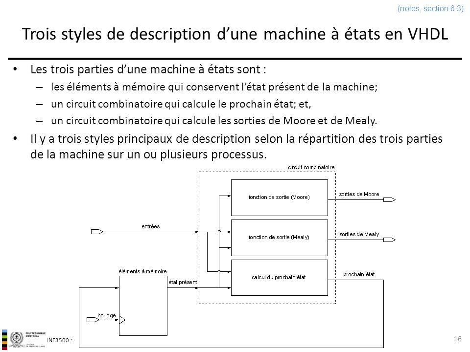 INF3500 : Conception et implémentation de systèmes numériques Trois styles de description dune machine à états en VHDL Les trois parties dune machine