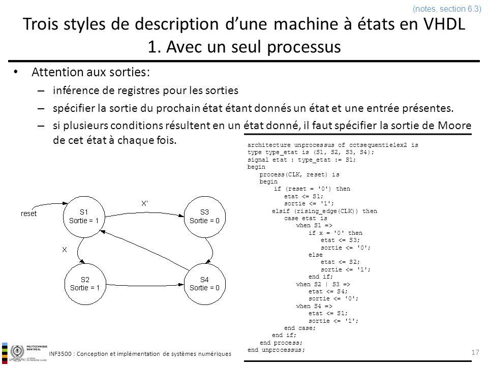 INF3500 : Conception et implémentation de systèmes numériques process(etat) begin case etat is when S1 | S2 => sortie <= 1 ; when S3 | S4 => sortie <= 0 ; end case; end process; end deuxprocessus; Trois styles de description dune machine à états en VHDL 2a.
