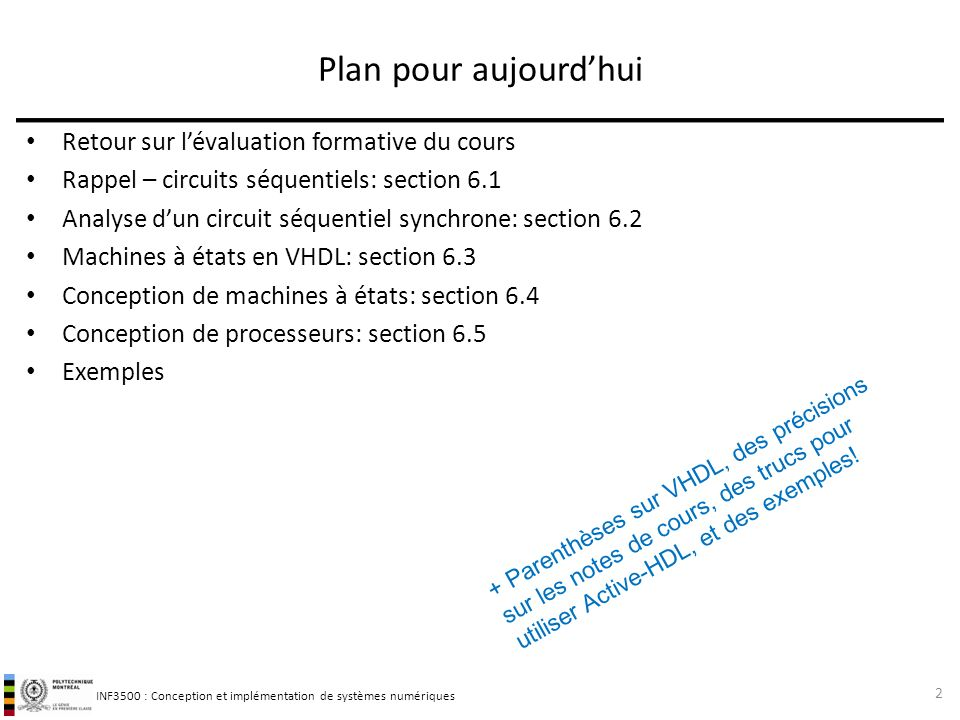 INF3500 : Conception et implémentation de systèmes numériques Plan pour aujourdhui Retour sur lévaluation formative du cours Rappel – circuits séquent