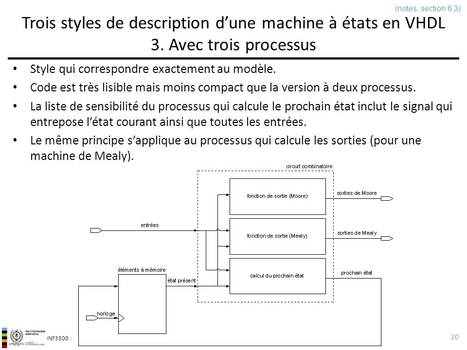 INF3500 : Conception et implémentation de systèmes numériques Trois styles de description dune machine à états en VHDL 3. Avec trois processus Style q