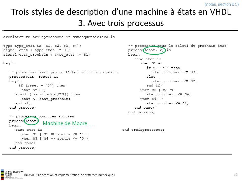 INF3500 : Conception et implémentation de systèmes numériques Trois styles de description dune machine à états en VHDL Conclusion Les trois styles ont chacun leurs mérites et inconvénients.