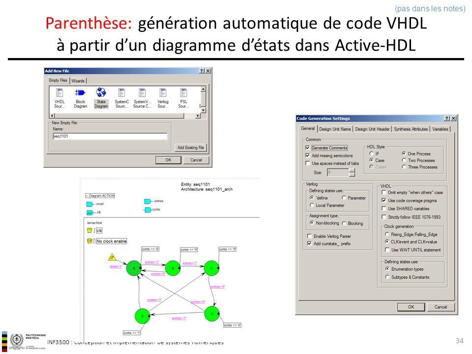 INF3500 : Conception et implémentation de systèmes numériques Parenthèse: génération automatique de code VHDL à partir dun diagramme détats dans Activ