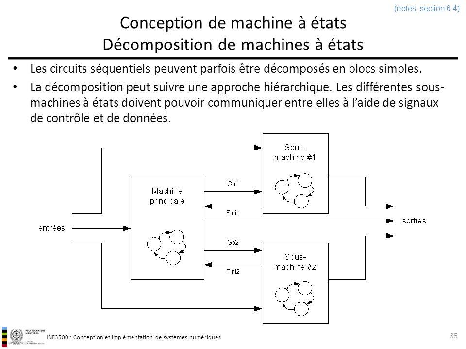 INF3500 : Conception et implémentation de systèmes numériques Conception de machine à états Décomposition de machines à états Exemple : donner un diagramme détats pour un circuit dont la sortie est 1 quand au moins deux 0 et deux 1 ont été reçus, dans nimporte quel ordre.