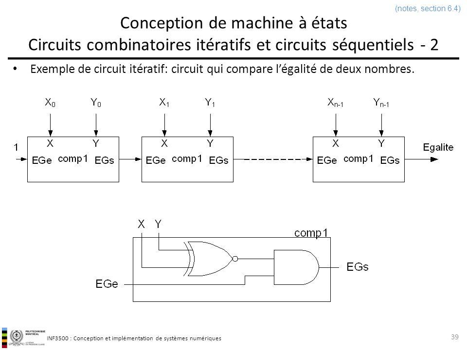 INF3500 : Conception et implémentation de systèmes numériques Conception de machine à états Circuits combinatoires itératifs et circuits séquentiels - 3 Si les entrées sont disponibles en format série et que lon est prêt à accepter les sorties principales en format série aussi, alors il existe une version séquentielle du même circuit qui est très simple et qui nécessite très peu de matériel.
