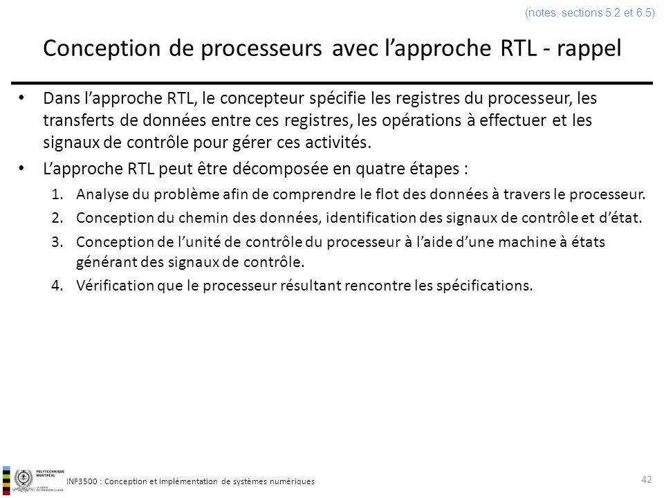 INF3500 : Conception et implémentation de systèmes numériques Conception de processeurs avec lapproche RTL - rappel Dans lapproche RTL, le concepteur
