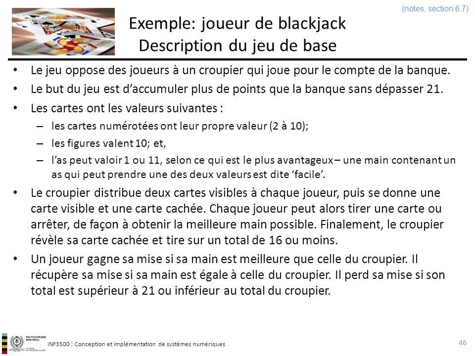 INF3500 : Conception et implémentation de systèmes numériques Exemple de conception dun processeur Joueur de blackjack Faire la conception dun processeur qui joue au blackjack en suivant les règles de base dun croupier.