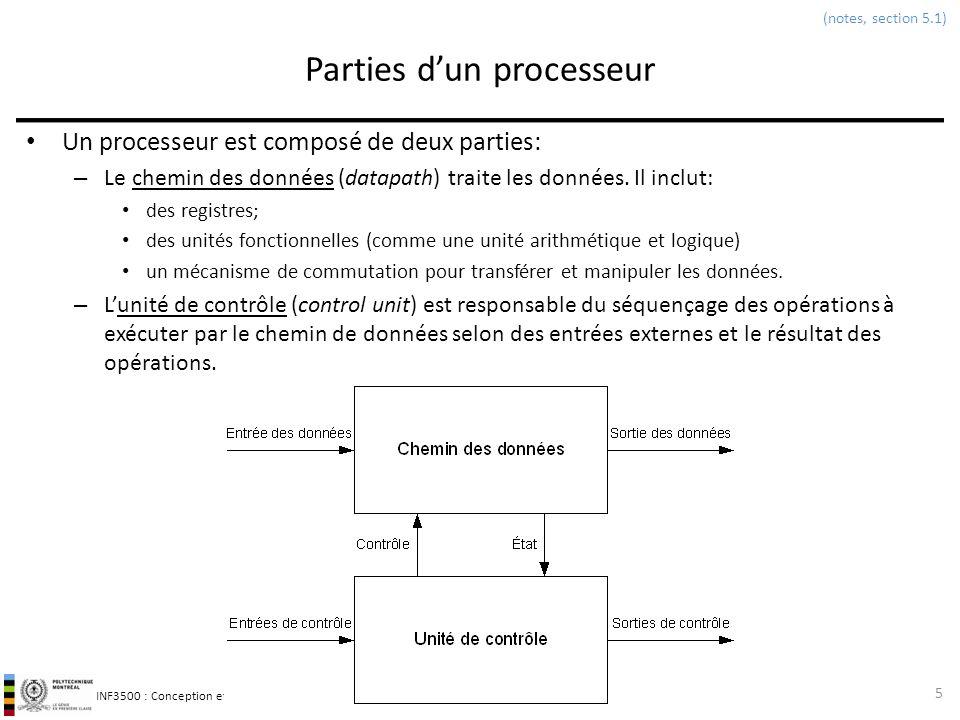 INF3500 : Conception et implémentation de systèmes numériques Parties dun processeur Un processeur est composé de deux parties: – Le chemin des donnée