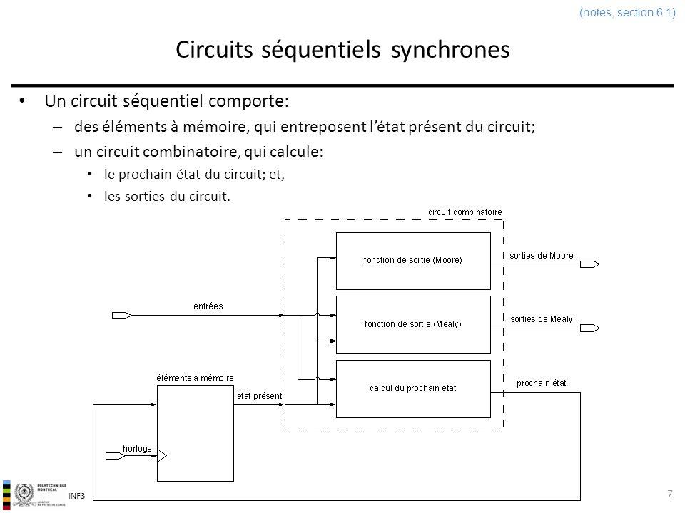 INF3500 : Conception et implémentation de systèmes numériques Circuits séquentiels synchrones 7 (notes, section 6.1) Un circuit séquentiel comporte: –