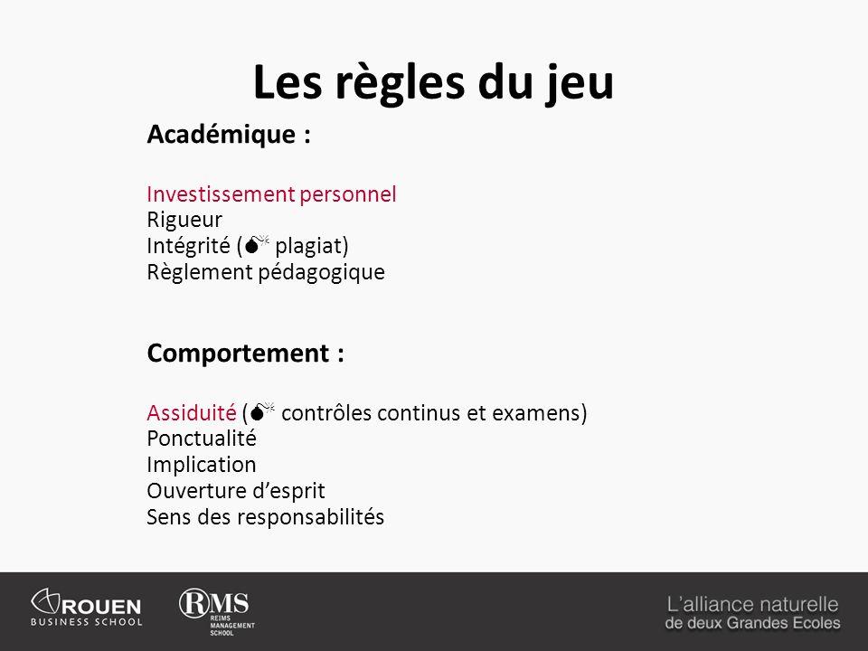 Les règles du jeu Académique : Investissement personnel Rigueur Intégrité ( plagiat) Règlement pédagogique Comportement : Assiduité ( contrôles contin