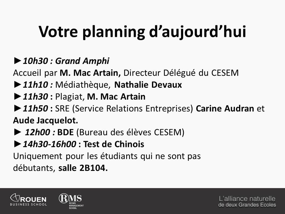 Votre planning daujourdhui 10h30 : Grand Amphi Accueil par M. Mac Artain, Directeur Délégué du CESEM 11h10 : Médiathèque, Nathalie Devaux 11h30 : Plag