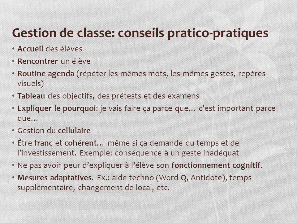 Gestion de classe: conseils pratico-pratiques Accueil des élèves Rencontrer un élève Routine agenda (répéter les mêmes mots, les mêmes gestes, repères