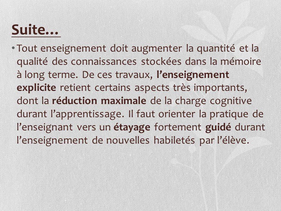 Suite… Tout enseignement doit augmenter la quantité et la qualité des connaissances stockées dans la mémoire à long terme. De ces travaux, lenseigneme