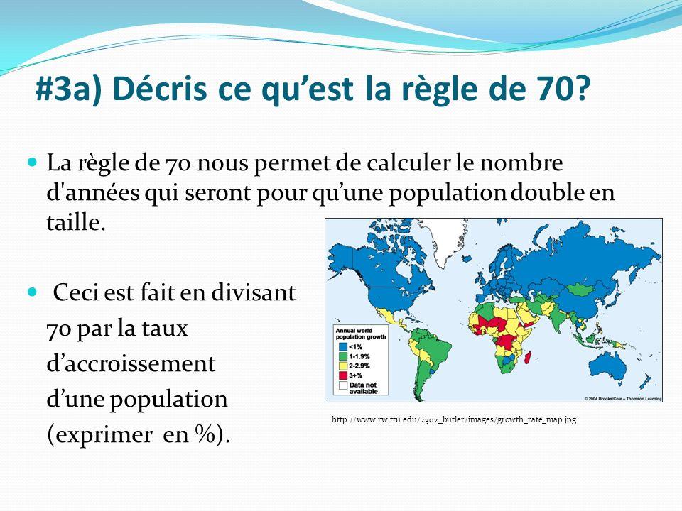 #3a) Décris ce quest la règle de 70? La règle de 70 nous permet de calculer le nombre d'années qui seront pour quune population double en taille. Ceci