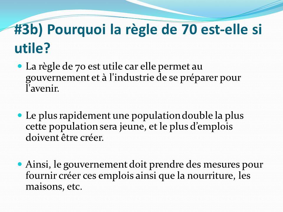 #3b) Pourquoi la règle de 70 est-elle si utile? La règle de 70 est utile car elle permet au gouvernement et à l'industrie de se préparer pour l'avenir