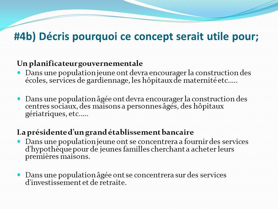 #4b) Décris pourquoi ce concept serait utile pour; Un planificateur gouvernementale Dans une population jeune ont devra encourager la construction des